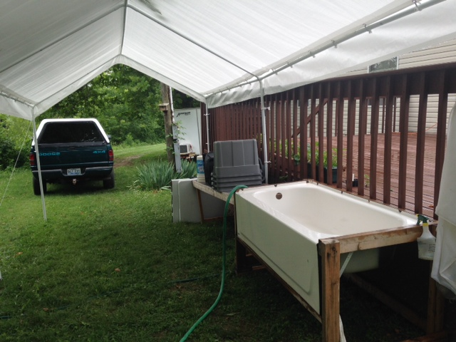 The wash station now has a canopy to help keep us and the vegetables shaded!
