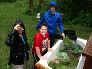 Happy helpers washing vegetables in Wednesday's rainstorm