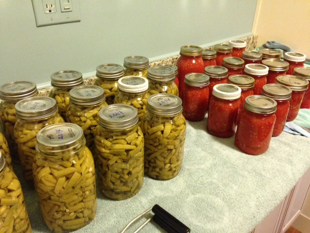 Summer in jars - my mom's canned green beans and my canned crushed tomatoes.